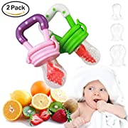 Baby Fresh Food Feeder   Baby Teether   Baby Teething Toys   Baby Fruit Feeder   Mesh Teether   6 Extra Nipples   S,M,L Size   2-Count (Pink/Green)