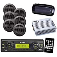 Black EKMRB11 Boat Yacht Radio USB AUX w/Cover & 3 Pairs of 5.25 Speakers & Amp