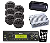 Black EKMRB11 Boat Yacht Radio USB AUX w/Cover & 3 Pairs of 5.25'' Speakers & Amp