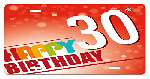 Ambesonne 30th Birthday License Plate, Invitation to The Birthday Party in Colorful Retro Style Poster Image Print, High Gloss Aluminum Novelty Plate, 5.88 L X 11.88 W Inches, Multicolor ()