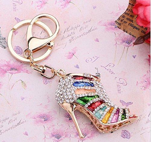 URTop Colorful Creative Hollow High Heel Shoes Rhinestone Key Chain Ring Holder Fashion Charm Purse Keyring Women Bag Accessory Girls - Stiletto Australia