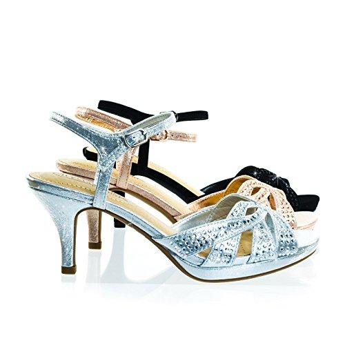 Sandalo Medio Strass Tacco Alto Con Zeppa Imbottita Comoda Suola Argento