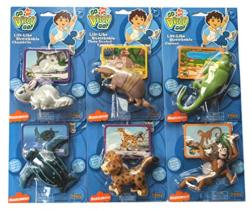 Go Diego Go Toys (Go Diego Go Life-Like Stretchable Animals with Rescue Card - Set of 6 ( Monkey, Caiman, Jaguar, Armadilo , Turtle and)