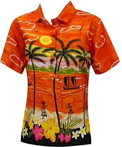 La Leela Likre v Neck Point Collar Camp Luau and Beach Wear For Work For Casual Plus Palm Tree Coconut Tree Sun Orange - Point Shops Coconut