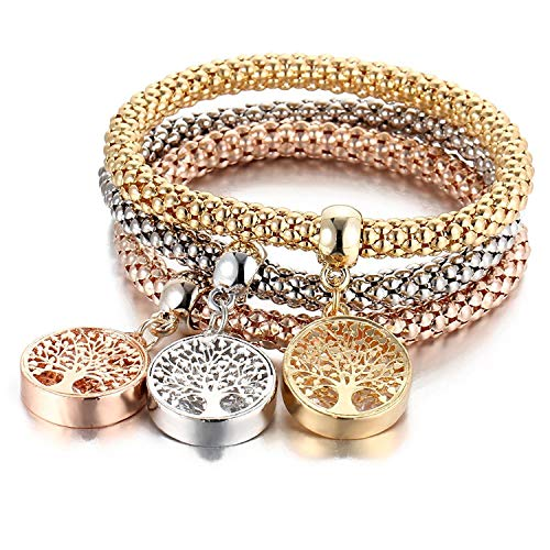Hot Sale Stretch Bracelet I' s 3 Piece Set Gold/Silver/Rose Gold Corn Chain Crystal Jewelry Bracelet for Women