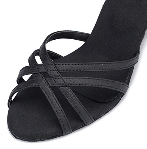 Latin Wildleder Fashion Salsa Kuh Sandalen Schnalle Strappy Womens Our41 Dance Black Knöchel Chunky 5 Frauen Leder Ballsaal Schuhe Ferse DQuietness Tanz EU40 UK6 Tango qfn05a8wY