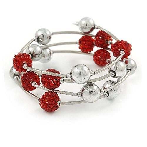 Avalaya Red Glass Bead, Silver Tone Ball Multistrand Flex Bracelet - Medium