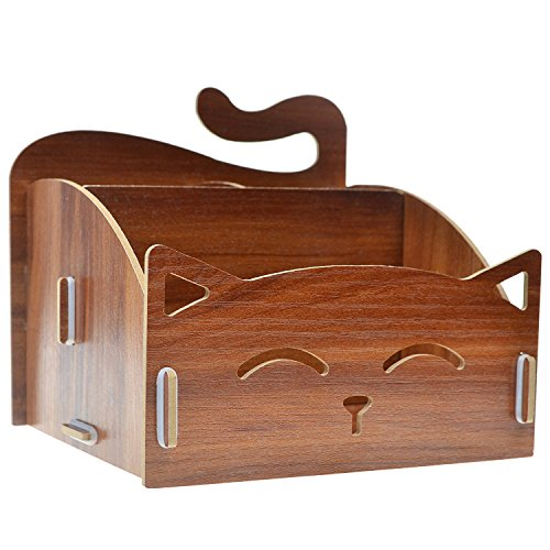 TEKEFT Wood DIY Assemble Cute Cat Pen/ Pencil / Cosmetic Holder Desk Organizer for Home, Office]()