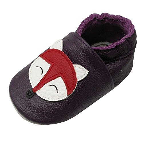 Designer Infant Shoes - Yalion Baby Soft Sole Leather Shoes Infant Toddler Moccasin Prewalker Crib Shoes Fox (12-18 Months, Dark Purple & Lady Fox)