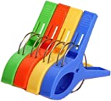JMT 4 Pack Multi-purpose Beach Towel Clips Colorful Clothesline Utility Clips Clothes Line Hanger Clips by SamGreatWorld