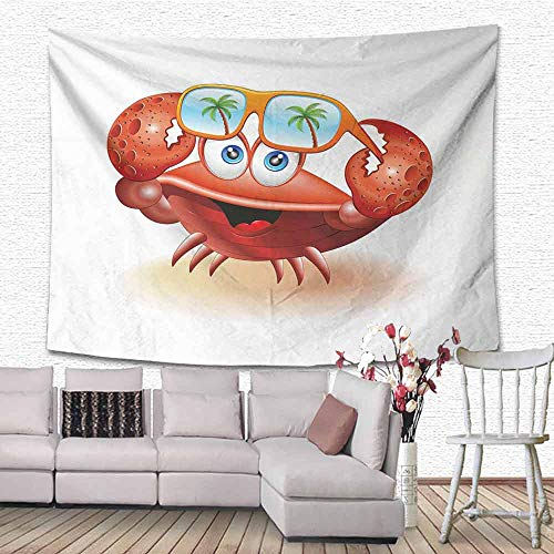 SONGDAYONE Multifunctional Tapestry Crabs Comical Oceanic Character Looking Under His Sunglasses with Palm Trees Easy to Care Vermilion Orange Blue W84 x ()