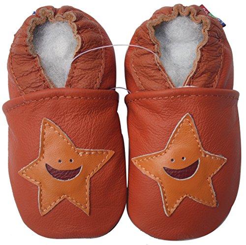 Carozoo unisex baby soft sole leather infant toddler kids shoes Starfish Orange 6-12m