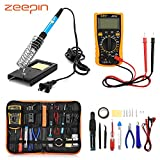 [Upgraded Version 2018] Electric Soldering Iron Kit, ZEEPIN 23 in 1 Soldering Kit with Tool Bag, Adjustable Temperature Soldering Iron Equipment 110V 60W, for Electrical and DIY Beginner