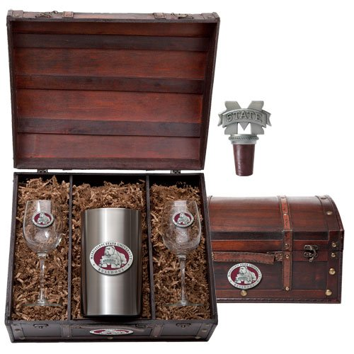 Mississippi State Bulldogs Wine Chest Set by Heritage Pewter