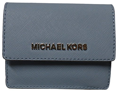 45bf16d32870ea Michael Kors Jet Set Travel Leather Card Case Key Holder Wallet Pale Blue  by Michael Kors