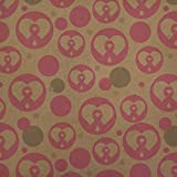 Breast Cancer Awareness Pink Ribbon in Heart Premium Kraft Gift Wrap Wrapping Paper Roll
