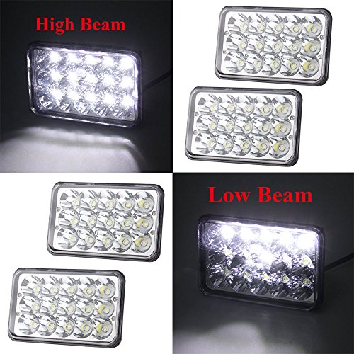 4 pc BearClaw kit 4x6 C LED Headlights Bulb for Peterbilt Kenworth Freightliner Rectangular replacement h6054 H4 H4651 H4652 H4656 H4666 H6545 -