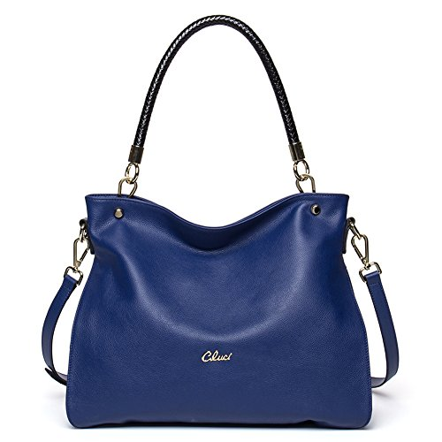 Women Shoulder Bag Crossbody Tote Satchel Leather Cluci Blue for Purse Handbags 12 ptaxwgq