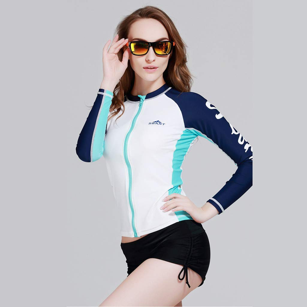 Allywit Women's Wetsuits Jacket Long Sleeve Neoprene Wetsuits Top Bathing Surfing Top White by Allywit (Image #1)