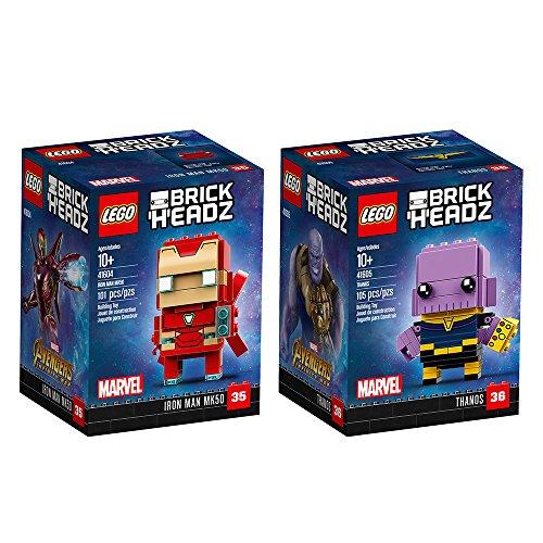 LEGO 6237545 Brickheadz Iron Man and Thanos Bundle, Avengers Infinity War (206 Pieces) ()