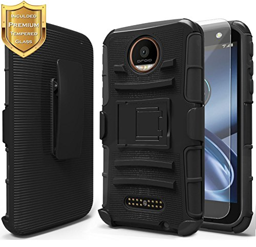Moto Z Play Case with [Tempered Glass Screen Protector], NageBee [Heavy Duty] Armor Shock Proof [Belt Clip] Holster [Kickstand] Combo Case for Motorola Moto Z Play Droid (2016-Verizon) -Black