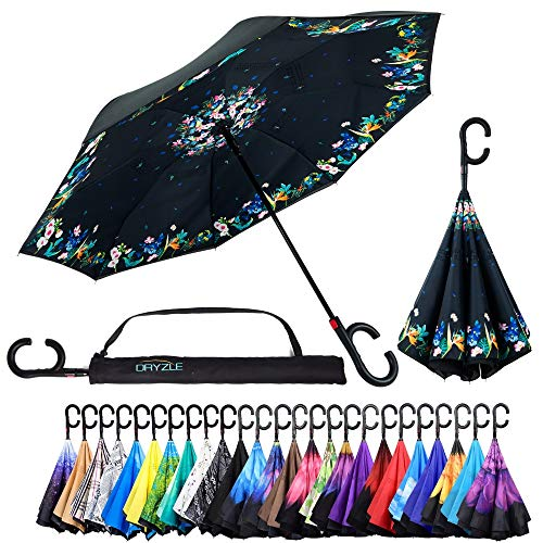 Reverse Inverted Inside Out Umbrella - Upside Down UV Protection Unique Windproof Brella That Open Better Than Most Umbrellas, Reversible Folding Double Layer (Flower Garden, 23 Inch X 8 Panels)