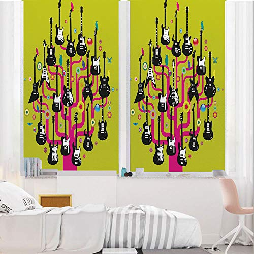 Music 3D No Glue Static Decorative Privacy Window Films, Guitars for Rock Stars Above a Tree Plant Modern Geometric Design Print,24