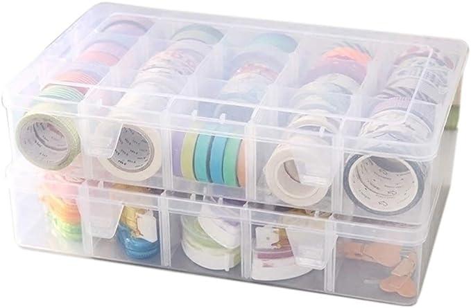 Plastic 15//10//24 Slots Adjustable Jewelry Storage Box Case Craft Organizer B FJ