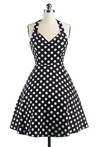 Retro 50s Tutú del de Grande la Rockabilly Vestido Delgado DATO Hepburn Falda Negro Lunares z5R8w