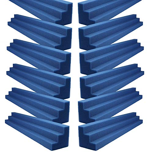 Foamily Blue XL Column Acoustic Wedge Studio Foam Corner Block Finish Corner Wall in Studios or Home Theater (12 Pack)