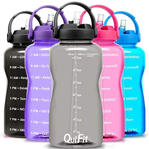 QuiFit Motivational Gallon Water Bottle - with Straw & Time Marker BPA Free 128/64 oz Large Water Jug Leak-Proof Durable for Fitness Outdoor Enthusiasts
