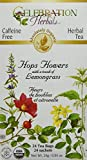 Celebration Herbals Organic Hops Flowers Tea Caffeine Free, 24 Herbal Tea Bags