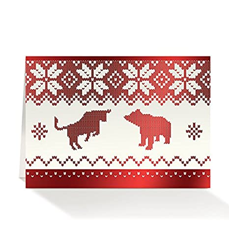 Amazon pack of 25 wall street greetings red foil holiday pack of 25 wall street greetings red foil holiday sweater 5x7 financial greeting card with 25 m4hsunfo