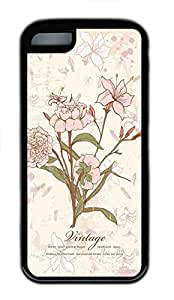 Hot for iphone 5/5S Customized Unique Print Design Floral Illustration New Fashion Tpu Black for iphone 5/5S Cases