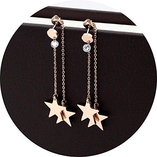 Titanium Steel Rose Gold Plated Shining Lucky Star Tassel Tiny Dot Ear Stud Dangle Earrings (Rose Gold + Rhinestone) (Lucky Rhinestone Earrings)