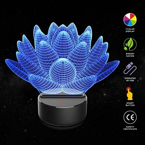 Kanzd Creative USB Bluetooth Stereo Colorful 3D Optical Illusion Bedroom Home Decor Apple LED Table Lamp (B)