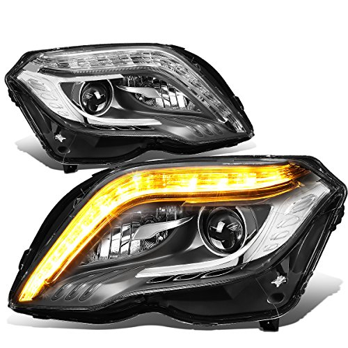 For 13-15 Mercedes-Benz X204 GLK Class Pair Black Housing HID Projector Headlight W/LED DRL & Turn Signal Light