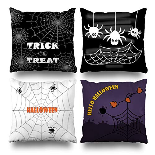 Pakaku Set of 4 Decorativepillows Case Throw Pillows Covers for Couch/Bed 18 x 18 inch,Trick Treat Happy Halloween Holiday Black White Home Sofa Cushion Cover Pillowcase Gift Bed Living Home