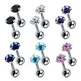 Moonsky 8-12 Pcs 18G Unisex Cubic Zirconia Stud Earrings Piercing Barbell Studs Cartilage Helix Ear Piercing CZ Inlaid (6 color 12pcs)