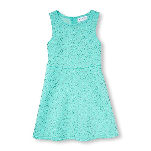 Dress Aqua Kids - The Children's Place Big Girls' Sleeveless Dressy Dresses, Mellow Aqua 77179, M (7/8)