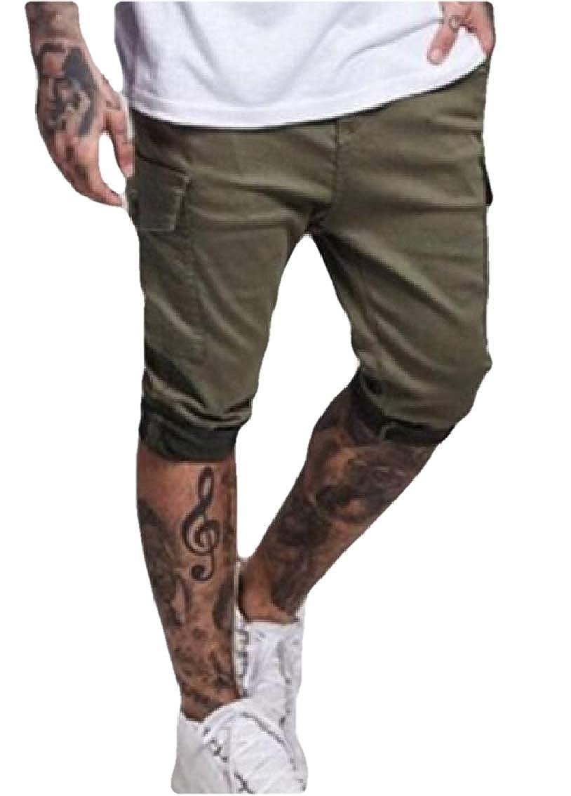WAWAYA Men Big Pockets Active Elastic Waist Jogger Running Stylish Shorts