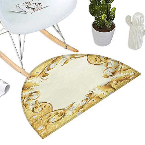 Pearls Half Round Door mats Illustration of a Frame with Ornaments and Pearls Baroque Style Floral Patterns Bathroom Mat H 15.7