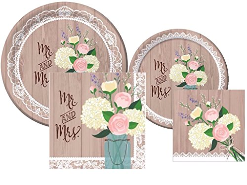 Rustic Wedding Bridal Shower Plates and Napkins Deluxe Party Pack for (Rustic Wedding Napkins)