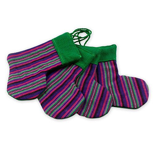 - NOVICA Decorative Christmas Purple Stockings' (Set of 4) Cotton Ornaments