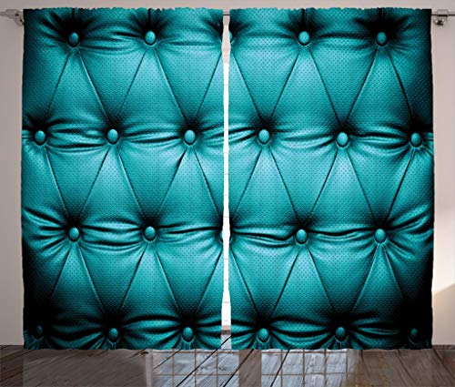 Ambesonne Turquoise Decor Collection, Buttoned Couch Sofa Bed Headboard Leather Cover Luxurious Upholstery Art, Living Room Bedroom Curtain 2 Panels Set, 108 X 90 Inches, Dark Teal