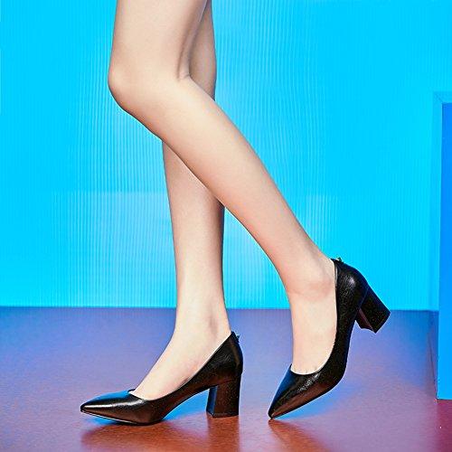 Hoxekle Femmes Sexy Mi Épais Talons En Cuir Chaussures Printemps Mode Nouvel Élément Chaussures Noir