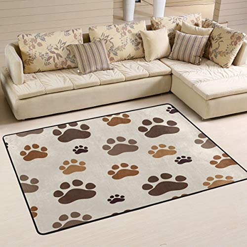 Wamika Dogs Paw Prints Doormat Animal Pets Indoor Outdoor Rug for Kitchen Living Room Bedroom Outside Patio Inside Entry Way, 6' x 4' (Rug Paw Print)