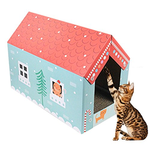 midsummer Scratcher Toy House-shaped Corrugated Cardboard Cat Scratchers Satisfy your kitty's Natural Scratching Instinct Save your Furniture by midsummer