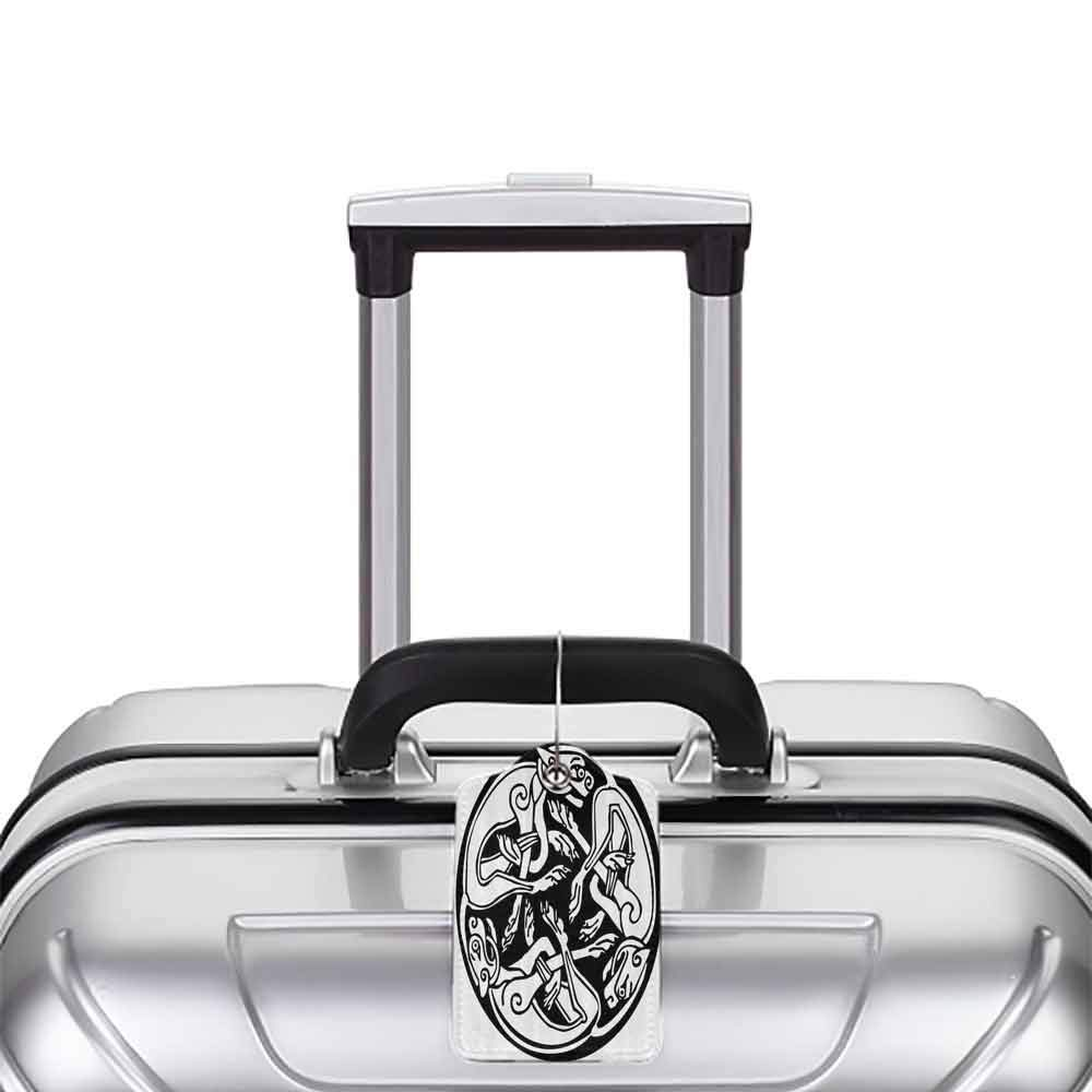 Multi-patterned luggage tag Celtic Decor Collection Three Dogs Biting Their Tails Animal Forms Vikings Heritage Celtic Knots Form Medallion Double-sided printing Black White W2.7 x L4.6