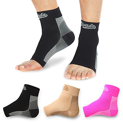 AIvada Plantar Fasciitis Support Compression Socks Foot Sleeves - Comfortable Arch Support - Quick Pain Relief, Reduced Soreness - Graduated Compression Brace - Faster Recovery Black LXL